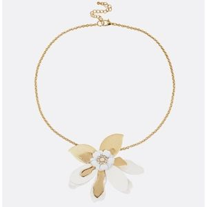 New Mother of Pearl Leather Flower Short Necklace